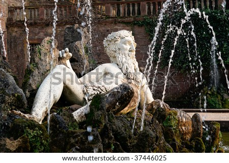 Close view of Heidelberg Castle, Germany, in Autumn