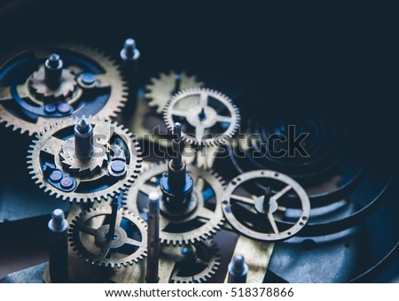 Close view of old clock mechanism with gears and cogs. Conceptual photo for your successful business design. Copy space included. #518378866