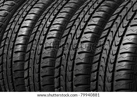 close view of rubber car tires