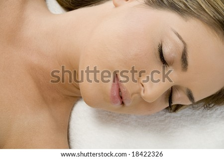 close view of sleeping young lady
