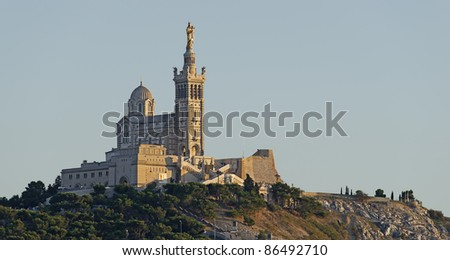 "Close view of the famous church "" Notre Dame de la Garde"" in ""Marseille"" in South France"