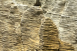Close view of the Pancake rocks an unusual geological formation of sedimentary rocks in New Zealand's South Island