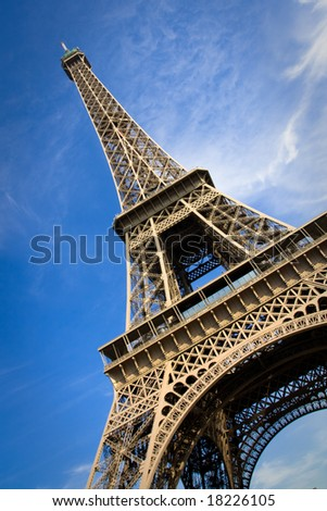 Close view on the Eiffel Tower