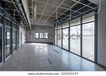 Close view on the empty office space
