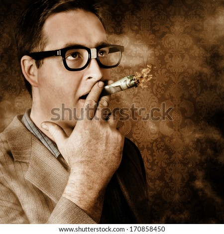 Close vintage portrait of a businessman standing in luxury office suite smoking 100 dollar note. Success in wealth and riches