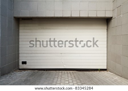 Close white garage door