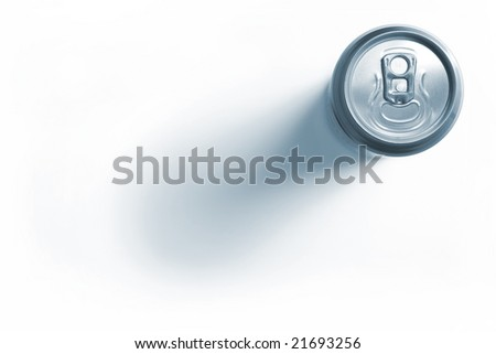 Closed aluminum beer can isolated on white background