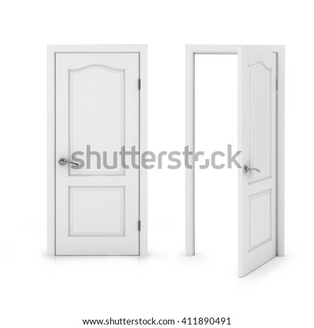 Closed and doors Isolated on White Background. 3D rendering