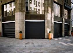 closed and locked luxury couture house in the urban city, impact of the corona virus pandemic 2021 in Europe.
