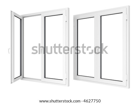 Closed and opened plastic window template model with clipping path included - stock photo