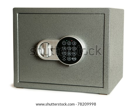 closed bank safe isolated on white