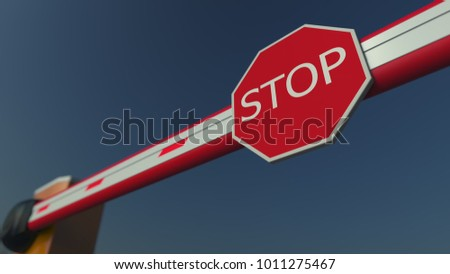 Closed barrier gate with STOP sign. Restriction or block concepts. 3D rendering