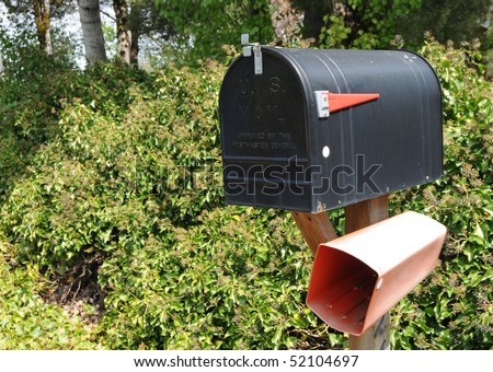 Closed black mail box that says U.S. Mail on the front