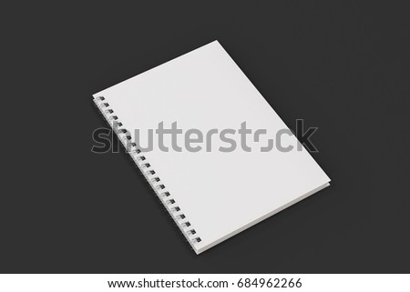Closed blank notebook with white cover and metal spiral bound on black background. Business or education mockup. 3D rendering illustration