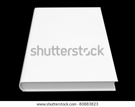 Closed blank white book isolated on black background
