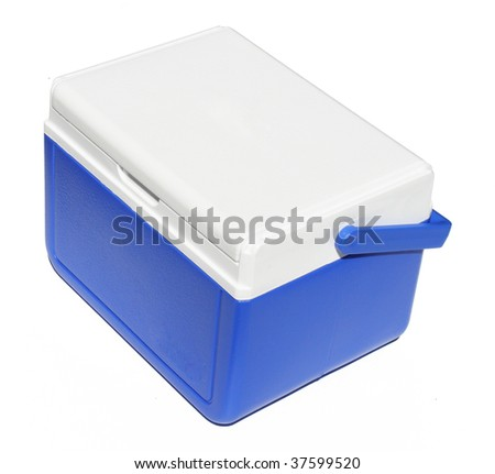 Closed blue cooler on a white background
