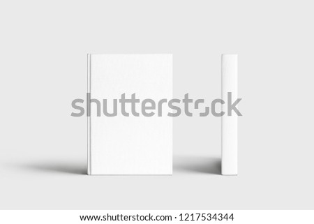 Closed books with blank white cover. Mock-up magazine or brochure isolated on soft gray background.3d render.