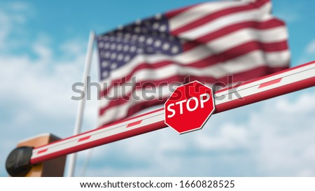 Closed boom barrier with stop sign against the American flag. Restricted entry or certain ban in the USA. 3D rendering Foto d'archivio ©