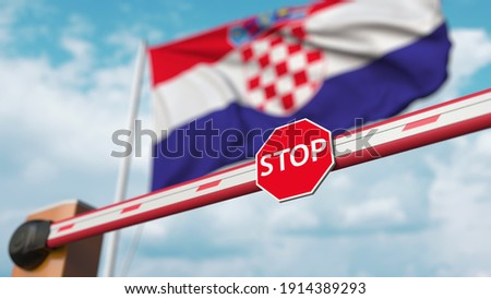 Closed boom barrier with stop sign against the croatian flag. restricted entry or certain ban in croatia.  3D rendering Сток-фото ©