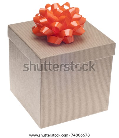 Closed Brown Paper Recycled Gift Box with Bow Isolated on White with a Clipping Path.
