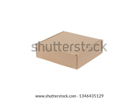 Closed cardboard box isolated on a white background #1346435129