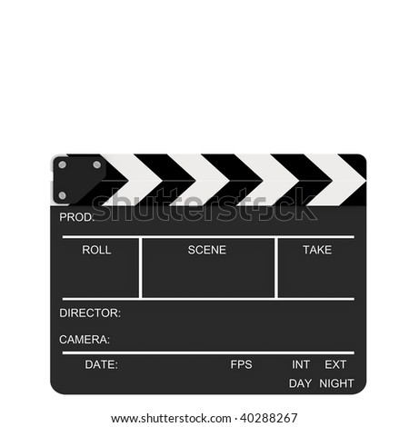 Closed clapboard isolated on a white background