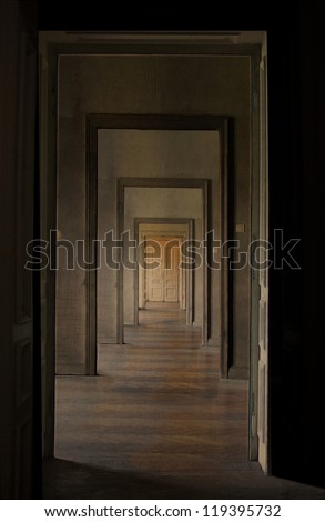 Closed door at the end of the hallway, rite of passage concept. Linear perspective view through several open doors and empty rooms.