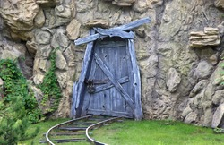 closed door to the abandoned mine