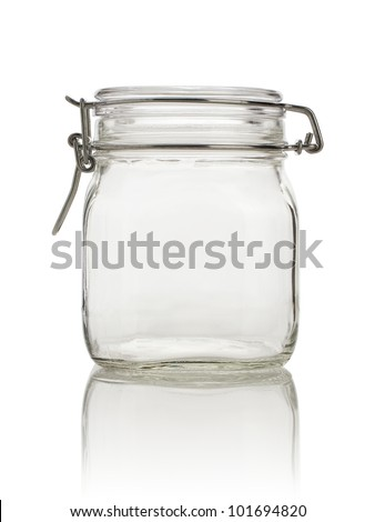 Closed empty glass jar, blue toned and isolated on white