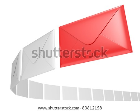 Closed envelope 3d illustration on a white background