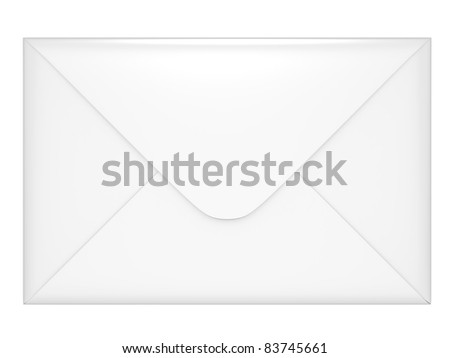 Closed envelope 3d illustration on a white background - stock photo