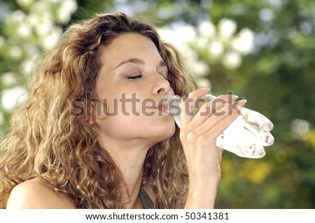 Closed eyes drinking water