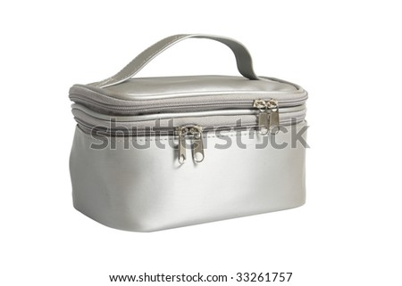 closed female bag for cosmetics on white