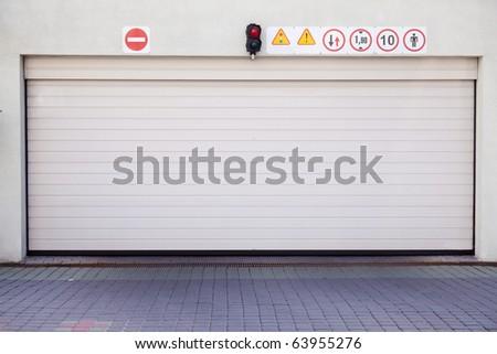 Closed garage gate in modern building