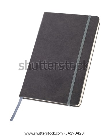 closed gray notebook isolated on white