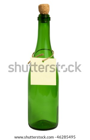 closed green empty bottle with label isolated on white. Contept of Gin in a bottle, air in a bottle , to sell air