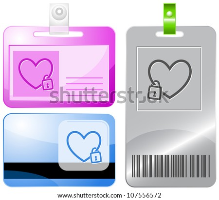 Closed heart. Id cards. Raster illustration.