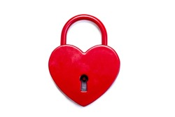 Closed heart shaped padlock isolated on white