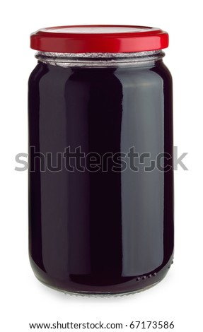 Closed jar of blueberry jam isolated on white
