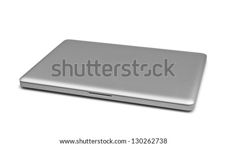 Closed laptop isolated on white, clipping path included