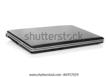 Closed laptop on a white background
