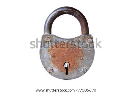Closed lock, studio isolated on white background
