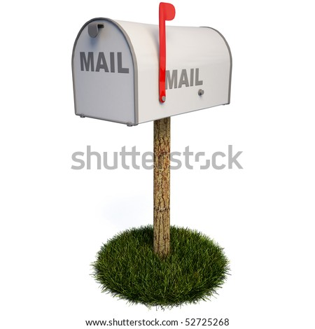 Closed mailbox with a raised flag. with clipping path.