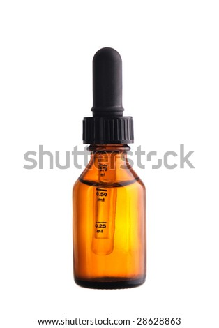 Closed medicine bottle with dropper