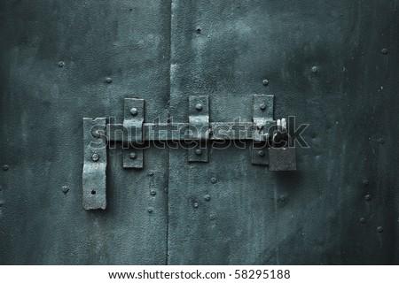 closed metal door with lock