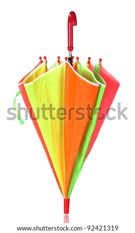 Closed multi-colored umbrella isolated on white
