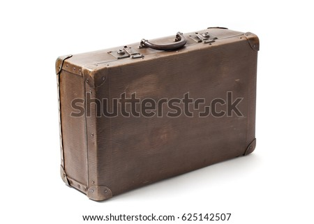 Closed obsolete antiquated and used suitcase stands isolated on white background. Stock photo ©