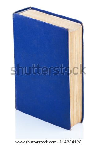 Closed old blue book isolated on white background