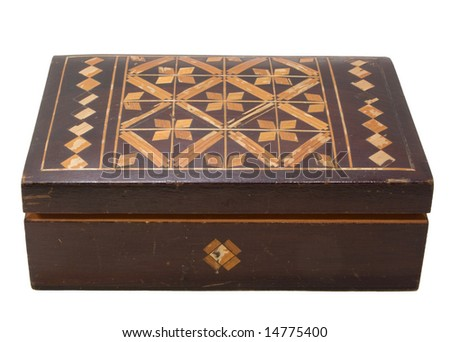 closed old wooden chest on white background. isolated