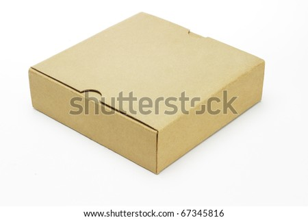 Closed paper box lying on white background